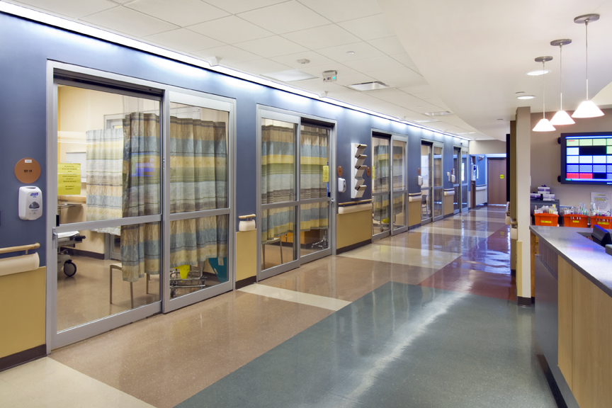 Hallway and nurse station inside of Memorial Hospital of Sweetwater County