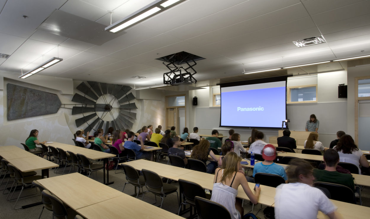 Modern classroom inside of the Behavioral Sciences Building at Colorado State University