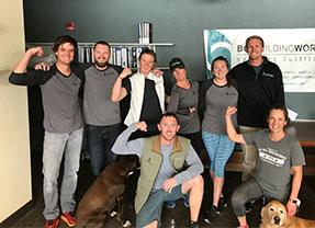 The Avon office crew gathered to celebrate BG Logowear day