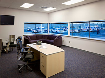 Office with view of police parking lot inside of the Albuquerque Police Station Northwest Command Center