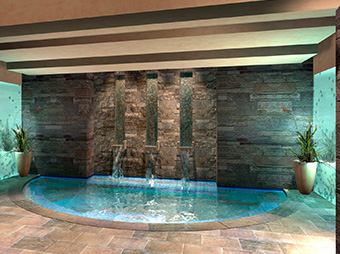 Small pool and water feature inside of the Allegria Spa at the Beaver Creek Park Hyatt hotel