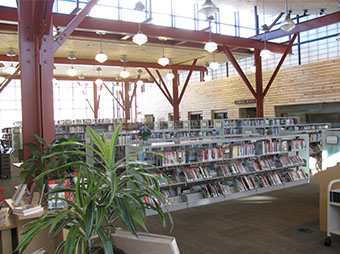 Lighting, books, and steel beams inside of the Basalt Library