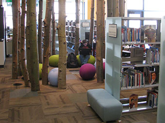 Child sitting inside of a circle of Aspen Tree beams that create a reading area inside of the Basalt Library