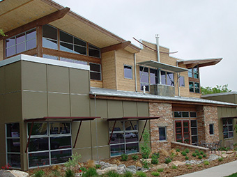 Exterior view of the Burr Oak Design Center office during the day