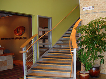 First floor entrance and staircase inside of the Burr Oak Design Center office