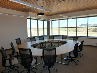 Conference room table inside of Colorado Northwestern Community College's Craig campus