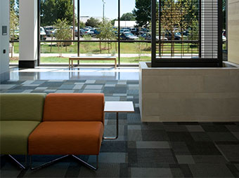 The Colorado State University Behavioral Science Building in Fort Collins offers seating with views of the campus
