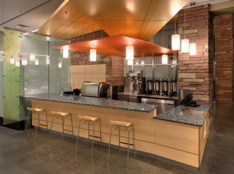 Lighting and bar seating at the cafe in the Colorado State University Behavioral Science Building in Fort Collins