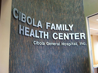 Interior signage for the Cibola Family Health Center