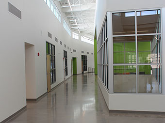 Hallway and conference room inside of the George I. Sanchez Collaborative Community School