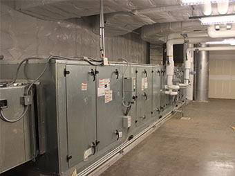 Penthouse air handler units inside of the George I. Sanchez Collaborative Community School
