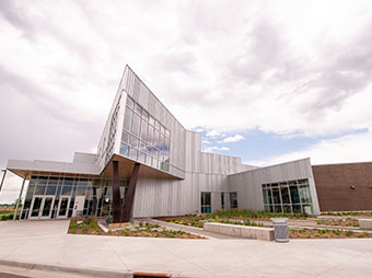 View of the side of the Innovation Center at the St. Vrain Valley School District