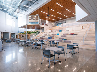 View from the lower level of the St. Vrain Valley School District Innovation Center auditorium