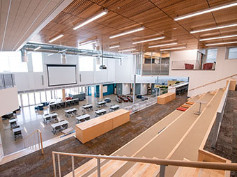 View from the upper level of the main auditorium inside of the St. Vrain Valley School District Innovation Center