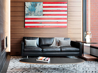 American flag art and waiting area inside of the Mason Morse office