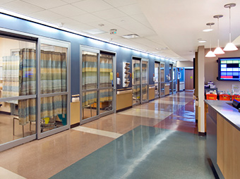 Hallway and nursing station with patient surgery prep rooms inside of the Memorial Hospital Sweetwater County