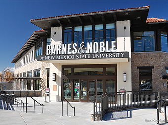 Exterior signage and entrance to the New Mexico State University campus bookstore