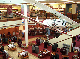 View from the second floor of the New Mexico State University Bookstore overlooking the first floor with a plane