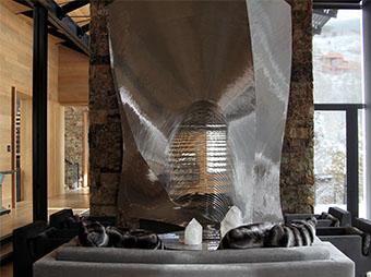 Custom fireplace inside of a luxury home in Aspen, CO