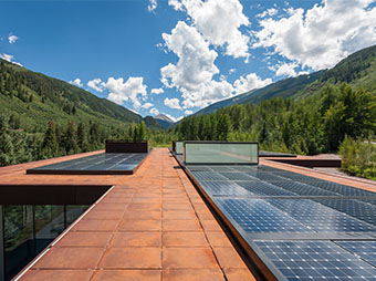 Solar panels on the top of the PT Ranch luxury home