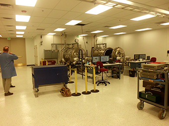 View of the vacuum test chamber lab inside of the SEAKR Engineering building