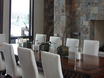 Dining room table inside of the Snadon Residence luxury home