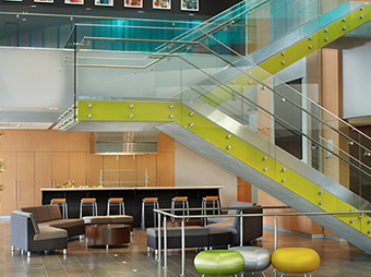 Staircase and seating area inside of the University of Colorado Denver Health and Wellness Center on the Anschutz campus