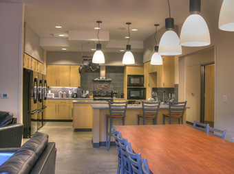 West Vail Fire Station #3's kitchen and dining area with lighting