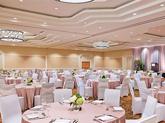 Westin Denver Downtown ballroom staged for a wedding reception