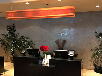 Reception desk and lighting for Westin Denver Downtown