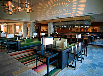 Seating area and bar inside the lobby of the Westin Verasa in Napa, CA