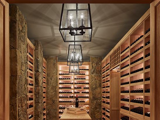 Wine Room lighting inside of Brush Creek Ranch
