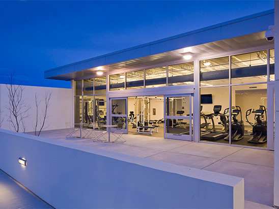 Exterior view of the gym at the Albuquerque Police Station where BG provided MEP and LEED services