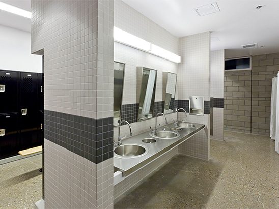 Bathroom inside of the Albuquerque Police Station where BG provided MEP and LEED services