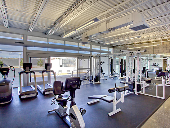 Gym inside of the Albuquerque Police Station where BG provided MEP and LEED services