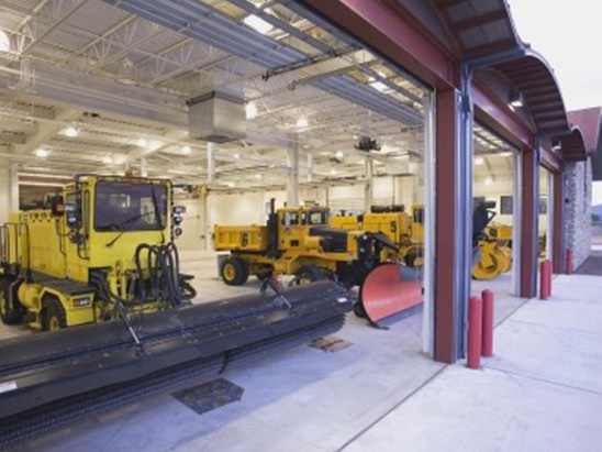 Vehicle bay at the Aircraft Rescue Facility where BG provided MEP, Lighting, and LEED services