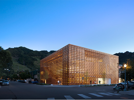 Exterior view of the Aspen Art Museum at night where BG provided MEP, Lighting, Technology, Acoustics, and commissioning services