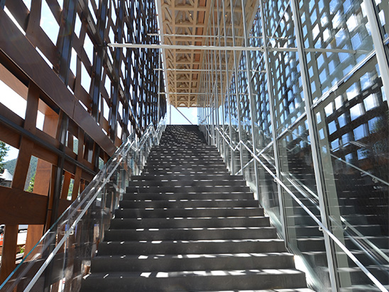 Staircase leading into the Aspen Art Museum where BG provided MEP, Lighting, Technology, Acoustics, and commissioning services
