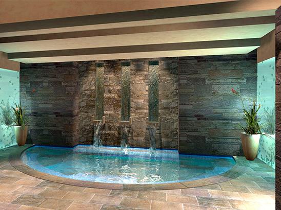 Wellness pool inside of the BC Hyatt Allegria Spa where BG provided MEP and lighting services