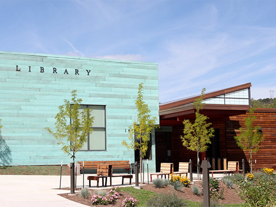 Front entrance to the Basalt Library where BG provided MEP, lighting, technology, and commissioning services