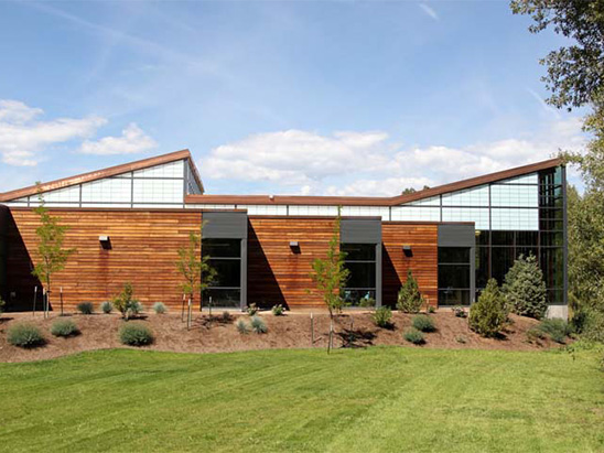 Backside of the Basalt Library during the day where BG provided MEP, lighting, technology, and commissioning services