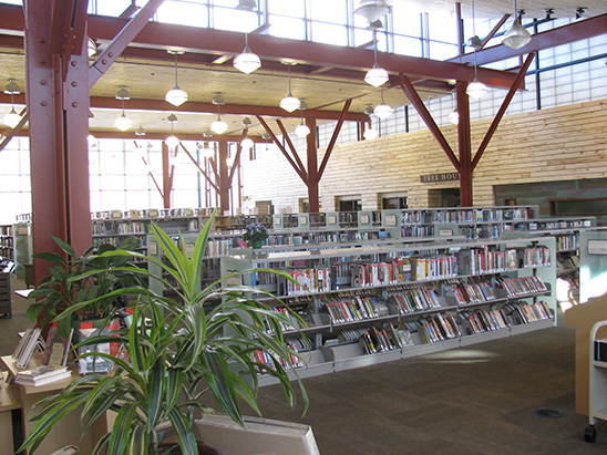 Lighting and books on display inside of Basalt Library where BG provided MEP, lighting, technology, and commissioning services