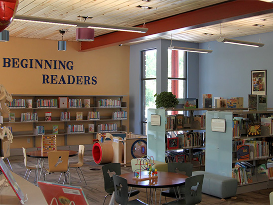 Childrens reading section inside of Basalt Library where BG provided MEP, lighting, technology, and commissioning services