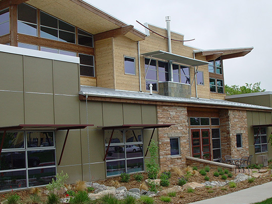 Exterior of the Burr Oak Design Center during the day where BG provided LEED and commissioning services