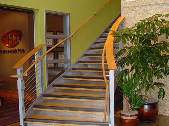 Lobby stairway inside of the Burr Oak Design Center where BG provided LEED and commissioning services