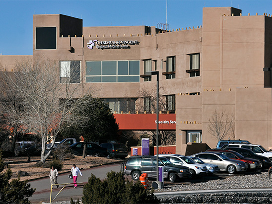 Exterior view of the Christus St. Vincent Hospital where BG provided MEP and commissioning services