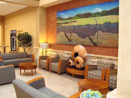 Interior artwork inside of the Christus St. Vincent Hospital where BG provided MEP and commissioning services