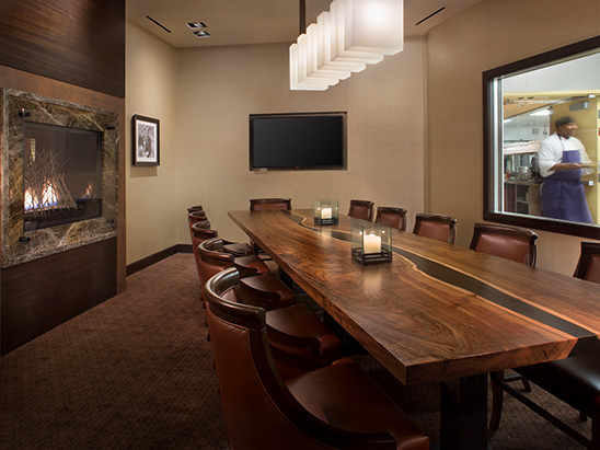 Private dining room inside of Elway's Restaurant inside of Ritz-Carlton where BG provided MEP and lighting services