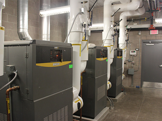 Boilers inside of the George I Sanchez school where BG provided MEP and technology services