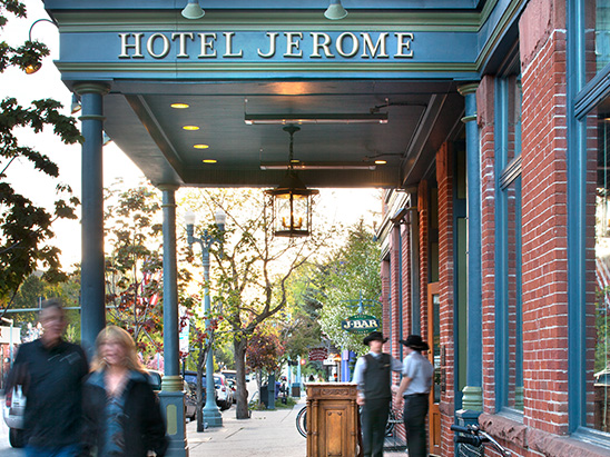 Valet stand outside of the Hotel Jerome where BG provided MEP, Lighting, and Technology services